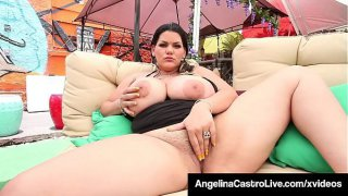 Cuban BBW Angelina Castro Mouth Fucks Cock &amp_ Fingers Herself