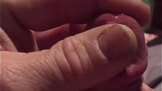 Chubby guy with small dick precumming before jacking off