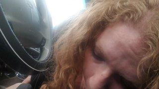 CurlyyRed bbw redhead gives roadhead on country roads
