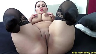 German BBW Samantha teasing in Black stockings on the bed HD