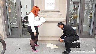 Big Booty BBW Redhead Tiffany Star Fucks Her New Boss