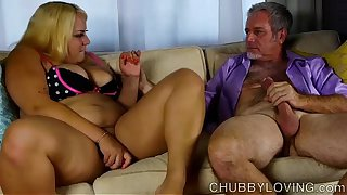 Beautiful big belly blonde BBW gets blasted with cum