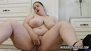 Huge tits BBW SweetHeart Mia in sexy dress striptease and masturbate