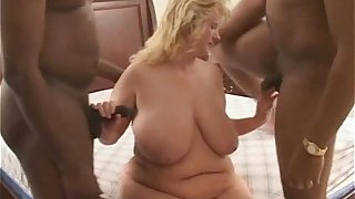 BBW Wife Used and Fucked by 2 Big Black Cocks