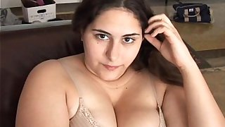Beautiful busty brunette BBW has a soaking wet pussy