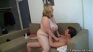 Big tits blonde rides him