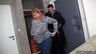 He doggy-fucks huge boobs fat girlfriend
